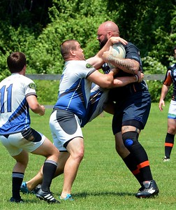 Justin Zadnik (2) stops Black Fox charge for the Bucks County Sharks.