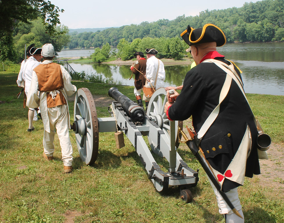 . Moving the artillery into place along the banks of the Delaware.