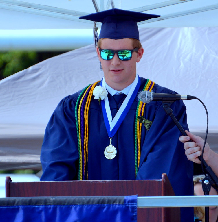 """. Council Rock High School North Mason Joseph Luff, Class President of 2017 spoke to the class titled \""""Unconventional Importance\"""". Debby High for Digital First Media"""