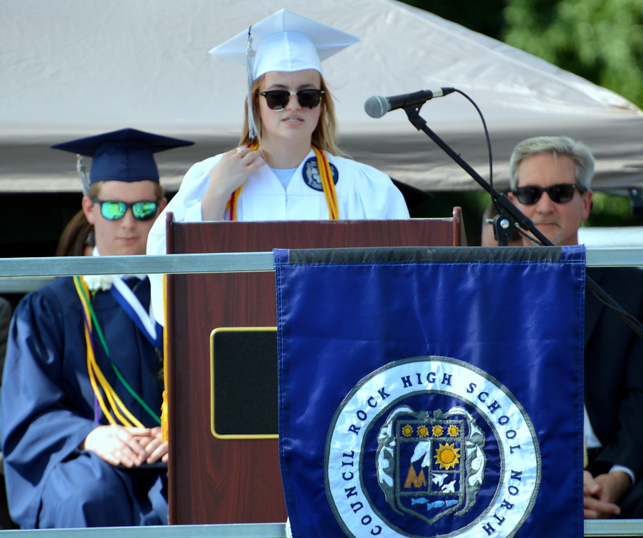 """. Ivy Marie Attenborough, graduate, Council Rock High School North spoke \""""Trust the Process\"""" to the Class of 2017. Debby High for Digital first Media"""