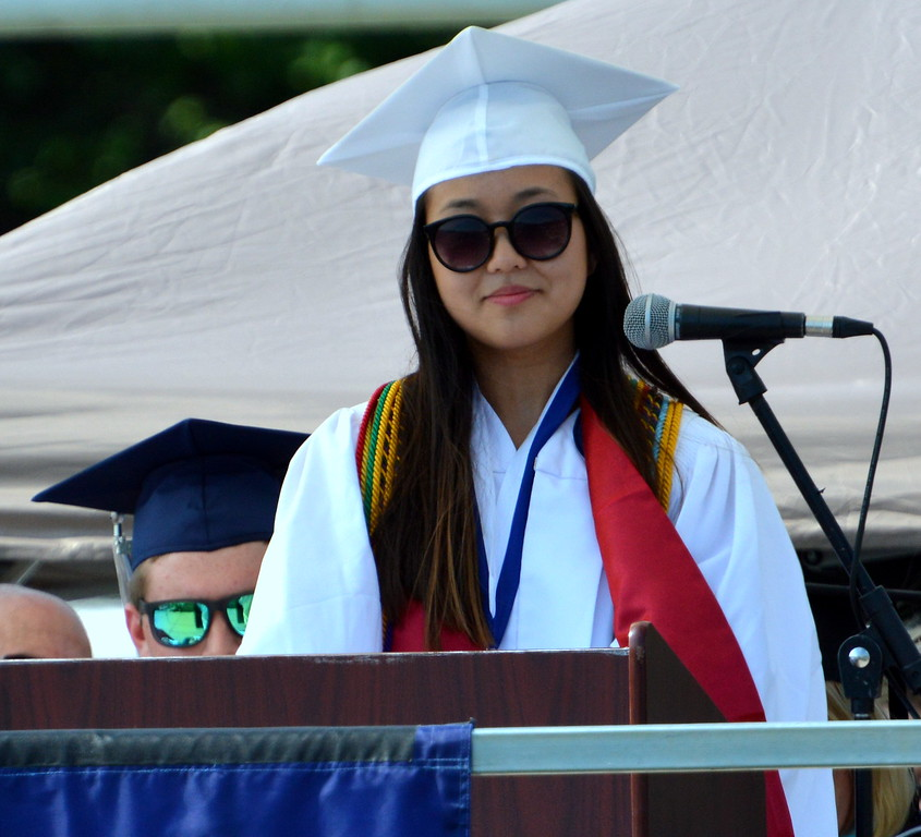 """. Dorothy Zhao was one of the Class of 2017 speaker, and she spoke \""""\""""Caution: Motion Sickness\"""" during CRHS North Commencement Ceremony last Tuesday. Debby High for Digital First Media"""