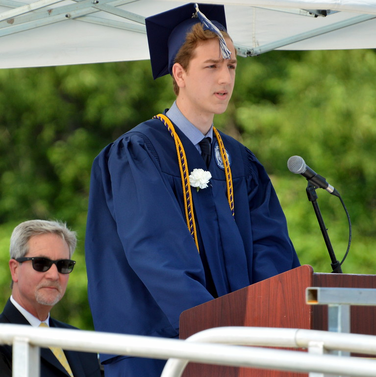 """. Brandon Cerami, Class of 2017 spoke \""""That Something\"""" during CRHS North Commencement Ceremony. Debby High for Digital First Media"""