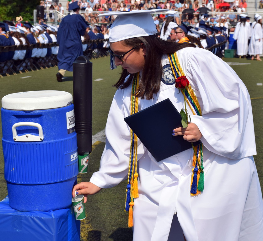 . Council Rock High School North provided drinking stations at each row for the graduates during 2017 Graduation. Debby High for Digital First Media