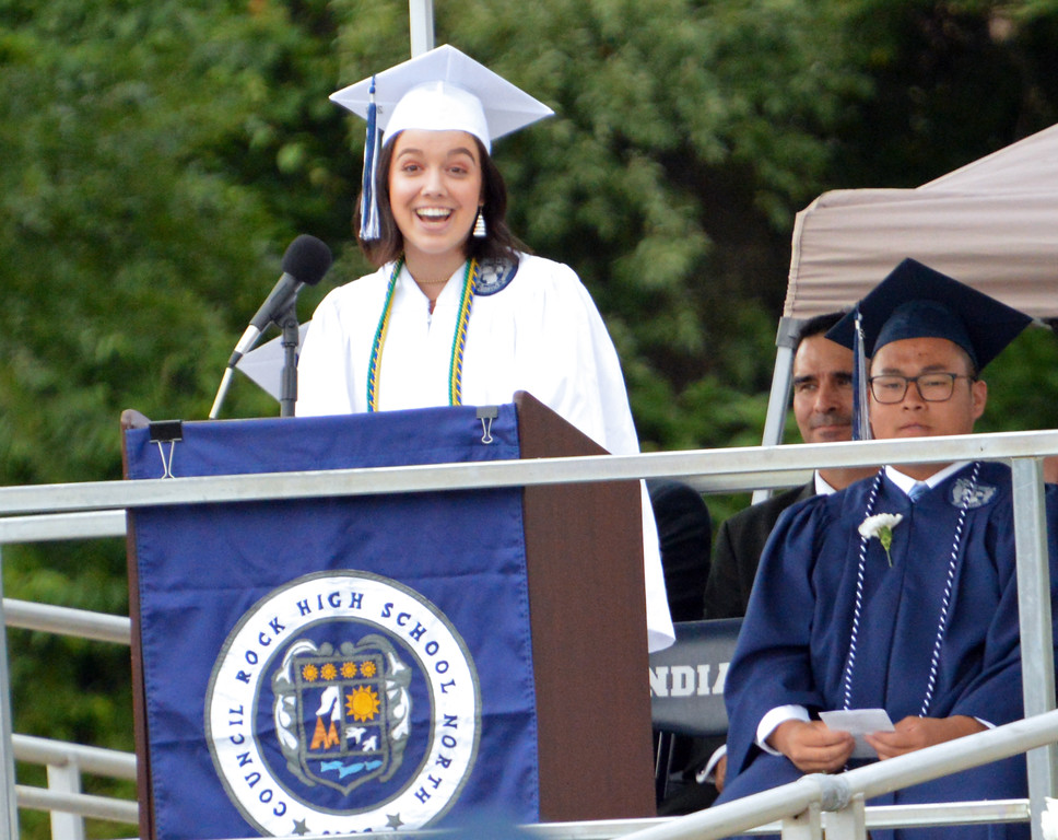 . Student speaker, Rachel Stillman at Council Rock North Graduation 2018 on June 20, 2018. Debby High for Digital First Media