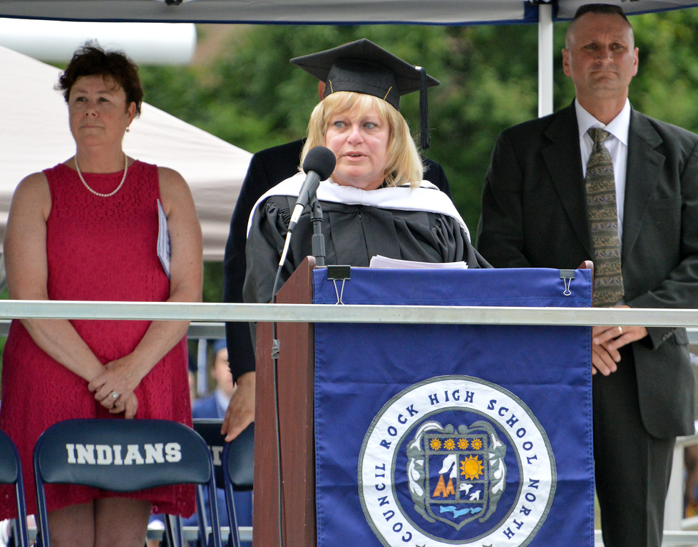 . Susan McCarthy, Principal gives Call to Order at Council Rock North Commencement 2018 on June 20, 2018. Debby High for Digital First Media