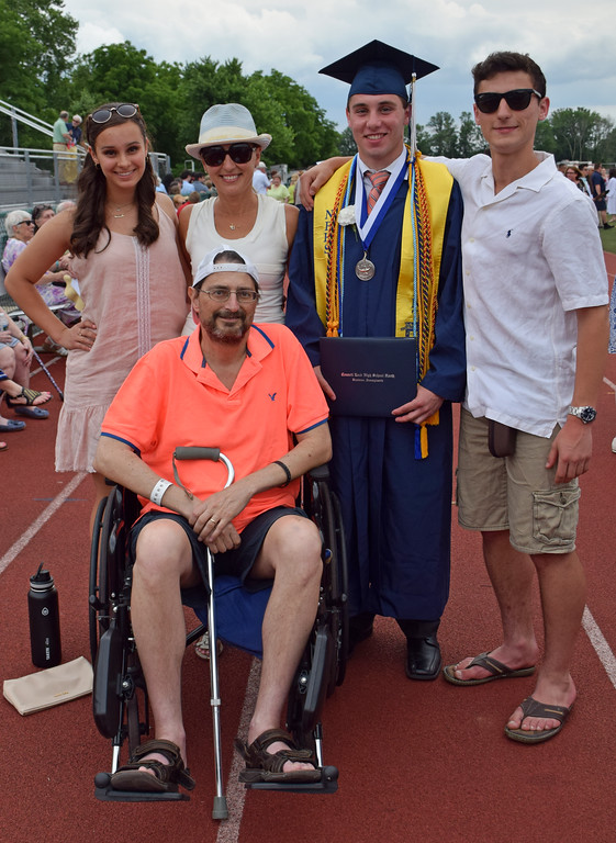 . Graduate, Ryan Pave with his family mom & dad, Irene & Gary, his siblings, Claire, 9th grade & Kyle, 10th grade at Council Rock North Graduation 2018 on June 20, 2018. Debby High for Digital First Media