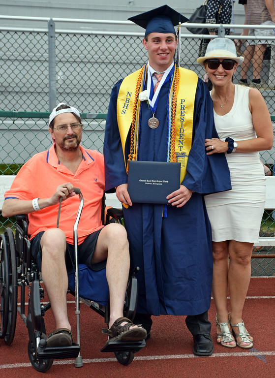 . Graduate, Ryan Pave with his folks, Gary & Irene at Council Rock North Graduation 2018 on June 20, 2018. Debby High for Digital First Media