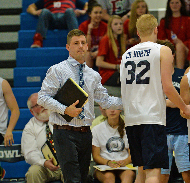 . Coach Greg Marchetti calls time out. (photo by John Gleeson)