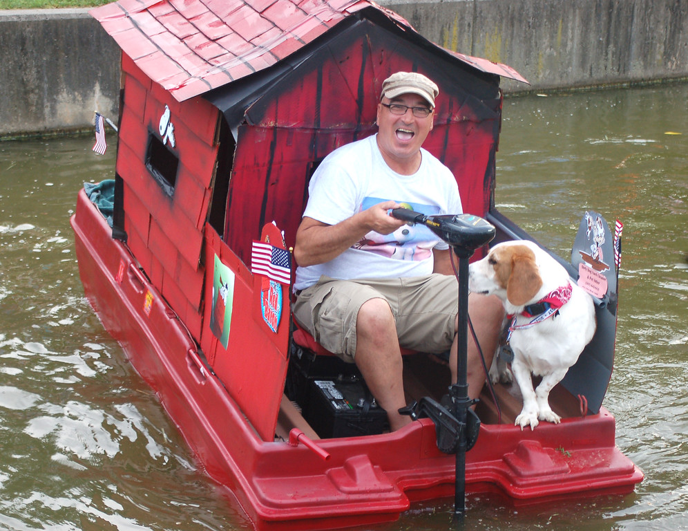 . Daniel Marshal of Yardley powered across the water in Snoopy\'s Dog House. That\'s BuddieBoo keeping him company.