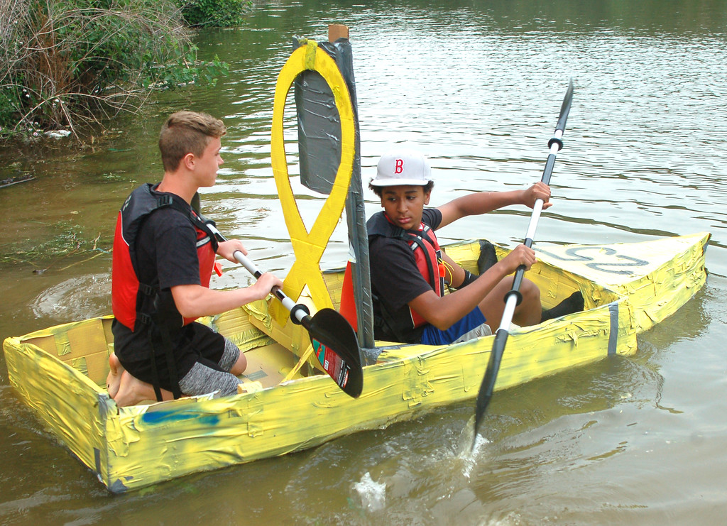 . Bristol Junior/Senior High School students Jordan Garrison and Brendan McGovern stayed afloat for 12 minutes 59 seconds in their cardboard boat, winning the contest.