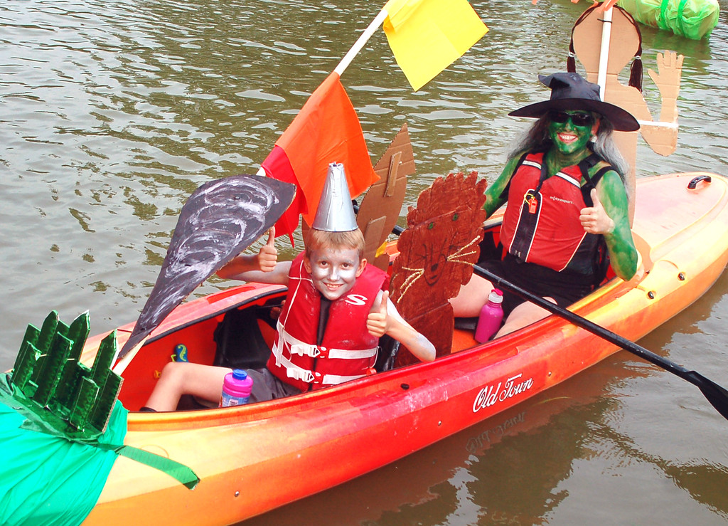 ". Kelly Carpenter and her son, Nick Gawlinski, of Fairless Hills, paddled to Best of Show with their ""Wizard of Oz\"" decorated boat."