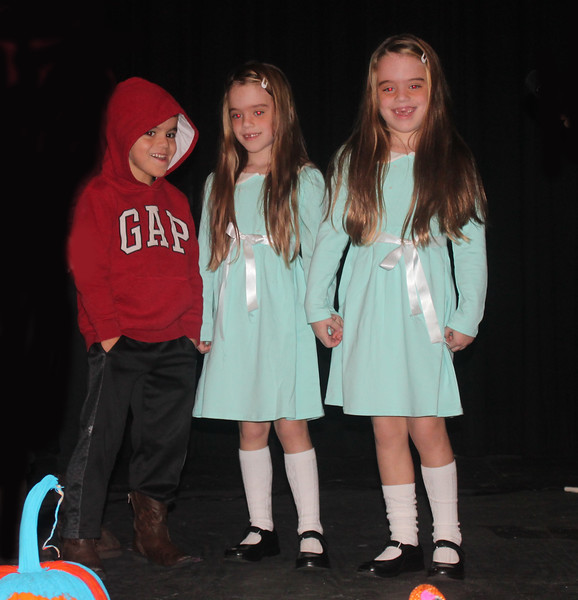 "Katherine, Talia, and Max Tannenbaum won second in the Halloween Horror category for ""The Shining."""