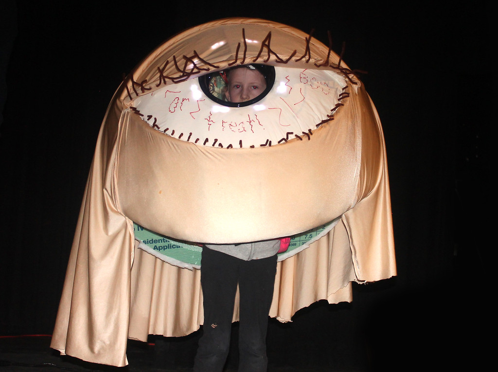 . Here\'s Looking at You! Lilly Hayes won first prize in the Best Homemade Costume category as a giant eyeball.