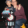 All aboard! That's Thomas the Train and mom.