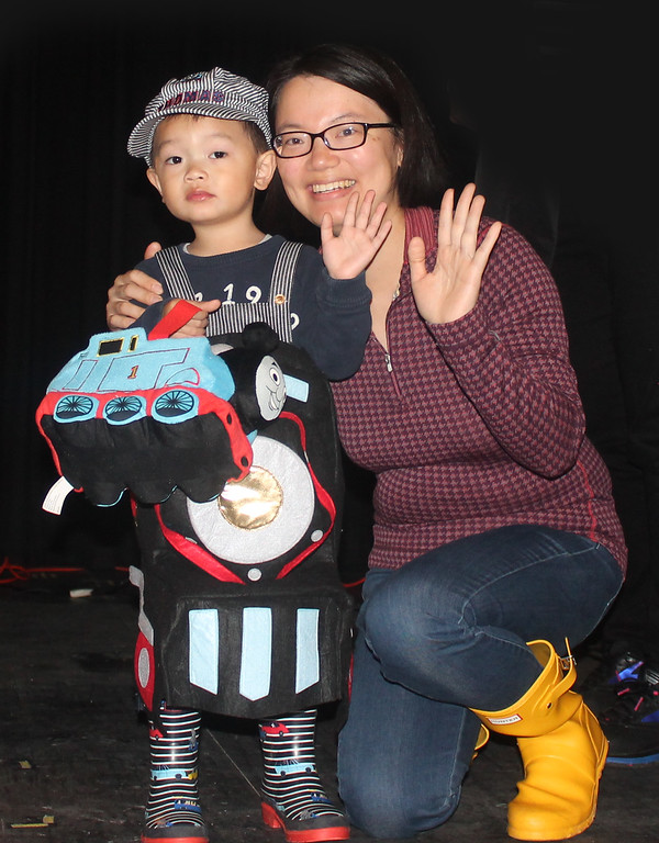 . All aboard! That\'s Thomas the Train and mom.
