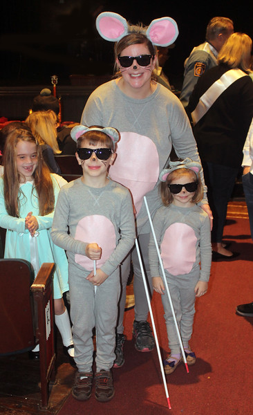 Sarah, Jackson and Catherine White as Three Blind Mice.