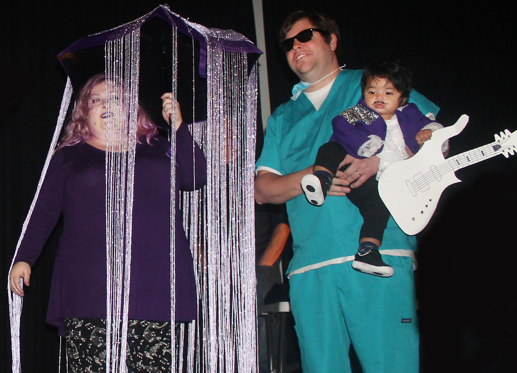 . The Allens won first place in the parent/child category for Prince and Purple Rain.