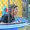 Donna McCormick-Miller, principal of the Makefield Elementary School, emerges after being dunked at Community Pride Day. She donated proceeds from her time in the dunk tank to the Garden of Reflection.