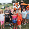 Dunk tank volunteer - Edgewood Principal Stephanie Hultquist - brought the Edgewood Tiger and a large contingent of students.
