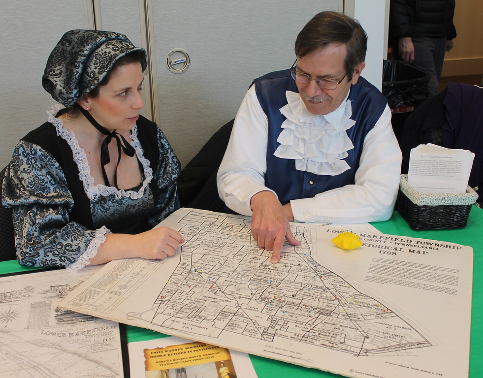 . Representing the Lower Makefield Historical Commission and the Lower Makefield Historic Society at the open house are Christa McConaghy and Rick Ogitis, aka Bartley Rightly.