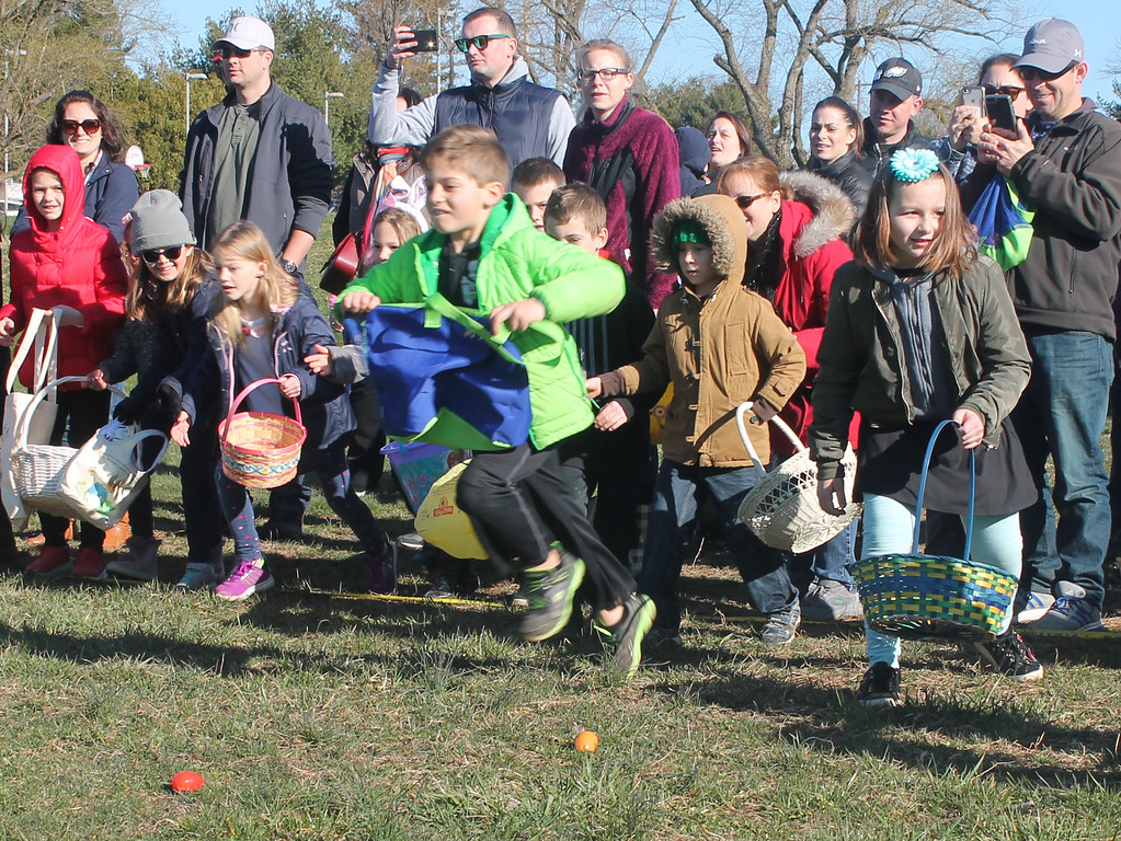 . They\'re off and running at this year\'s Newtown Easter Egg Hunt.