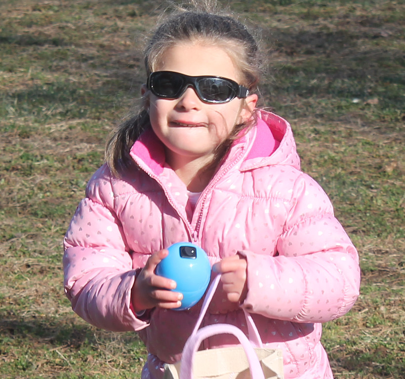 . Check out the giant blue egg she found during the hunt for the visually impaired.