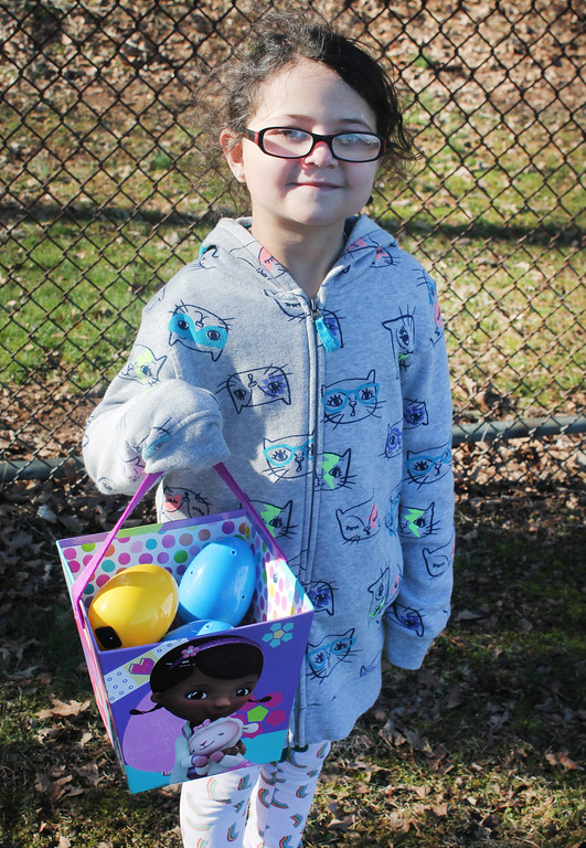 . Sabrina Schwartz stopped half way through the egg hunt for the visually impaired because she wanted to leave some for the other kids.