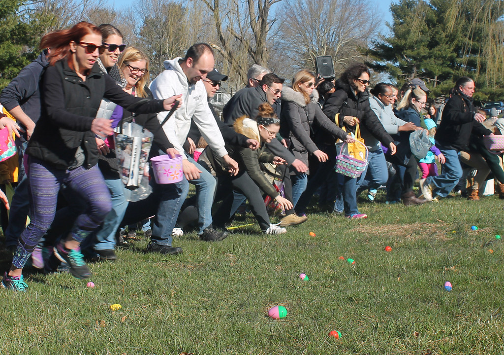 . REMEMBER, YOUR KIDS ARE WATCHING - The adults plow the field in search of eggs. Within seconds, the field was void of any plastic eggs.