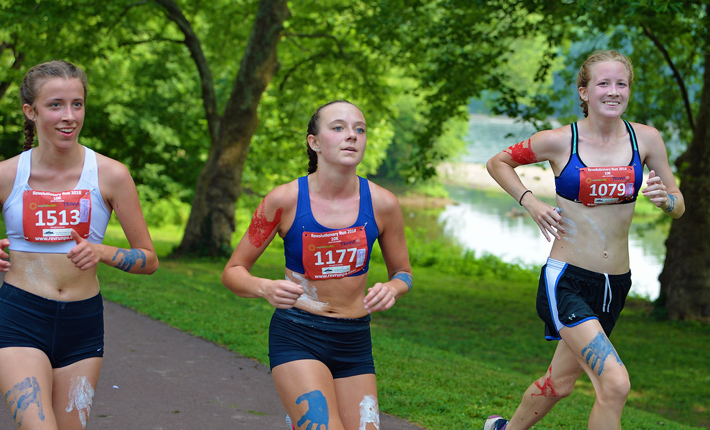 . Chloe Connor (1079), Riley Hall (1177) and Madison Weber (1513) finished third, fourth and fifth in the 10K under 18 age group. (photo by John Gleeson)