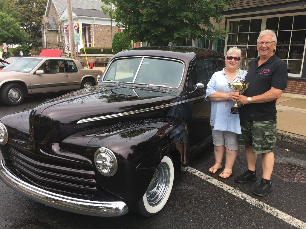 . Nancy and Frank Steigerwalt of Newtown won a first place trophy for their 1946 Ford Tudor in the category of 1940 to 1949.