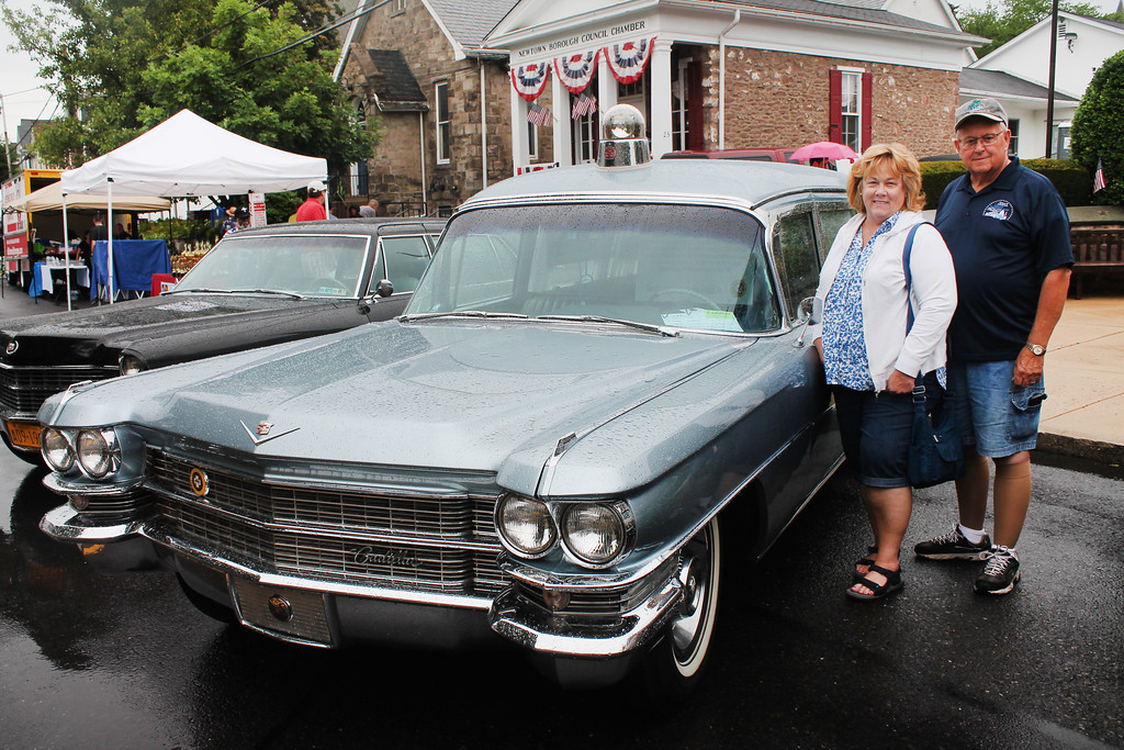 . Mike and Vicky Reimer Barruzza of Bensalem with their 1963 Cadillac S&S Parkrow Hearse/Ambulance Combo. Vicky grew up in Yardley.
