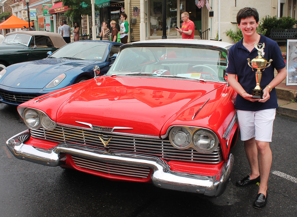 """. Ray Setters of Newtown with a first place award in the special interest category for his dad\'s restored 1957 Plymouth Belvedere (\""""Christine\"""" movie car)."""