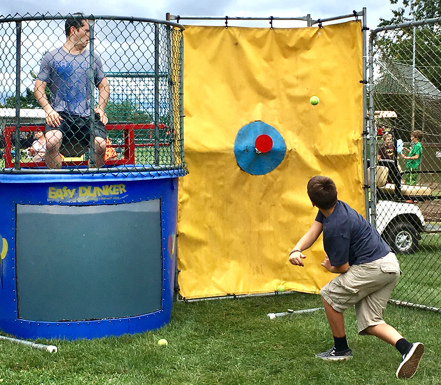 . Lower Makefield Supervisor Jeff Benedetto just barely gets by without getting dunked - this time.