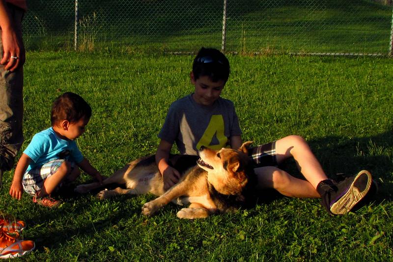 Maddie, children, reshav, dino, towpath, 5