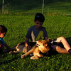 Maddie, children, reshav, dino, towpath, 5
