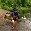 Kathi, Maddie, goose, canal, FB22