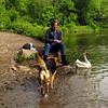 Kathi, Maddie, goose, canal