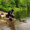 Kathi, canal, treats, Josephine, 4, goose