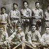 Byron (Bud) William Yaden - 1911 - Age 14 - Catcher (bottom row, far right) - Shoshone High School Baseball Team - Shoshone, ID