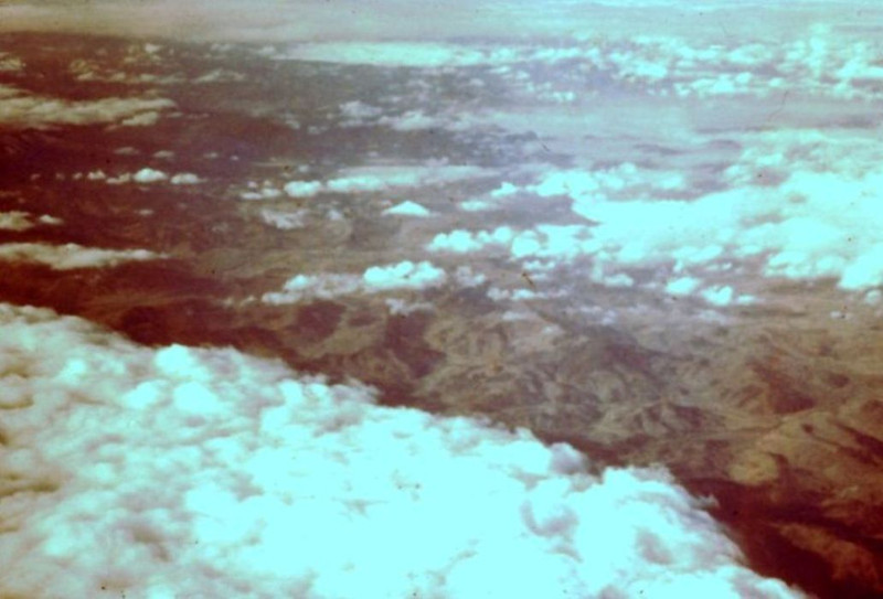 1960 - Scene somewhere along flight path from Seattle, WA to Los Angeles, CA - Bud Yaden loved to take photos from airplanes on his trips to the Veterans Hospital in Long Beach - He became wheelchair bound in 1921 (at age 24) from poliomyelitis and was the oldest surviving paraplegic from WWI until his death on April 20, 1975 at age 78 - From the Byron W. Yaden 35MM Slide Collection