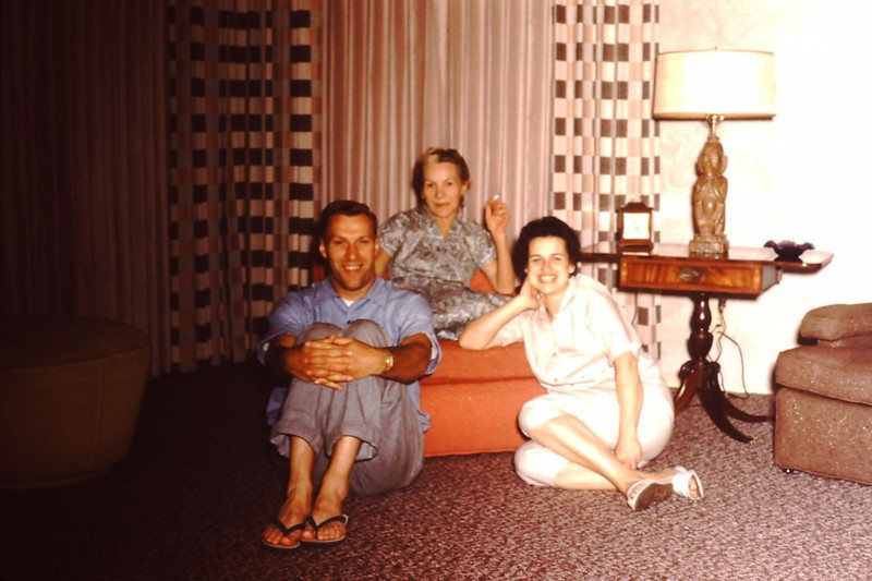 Estelle Yaden [center] - 1960 (March) - Married Bud Yaden in 1958 - Identity of couple in front is uncertain (likely to be Estelle's son and daughter-in-law in California) - From the Byron W. Yaden 35MM Slide Collection