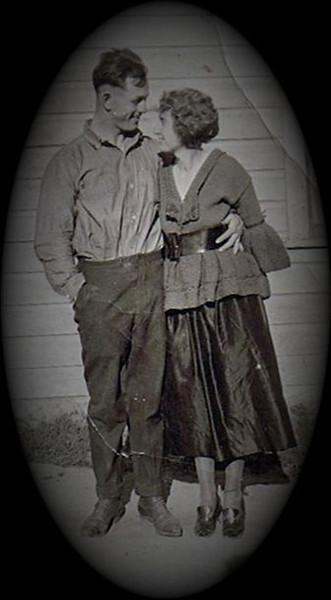 Byron (Bud) William Yaden [age 22] & Edna Maxwell [age 24] - 1919 - Shoshone, ID