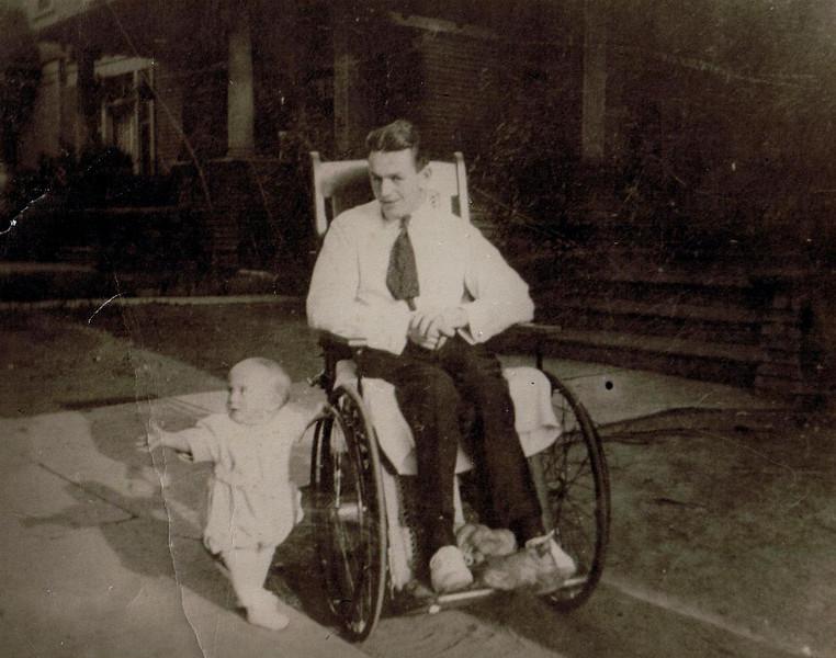 Bud Yaden (age 25) with son David (age 1) - 1922 - Shoshone, ID<br /> <br /> Byron (Bud) William Yaden [1897-1975] <br /> David Byron Yaden, Sr. [1921-2007]