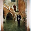 Sandy Lewis in the front court-yard of the hotel they stayed at in Venice, Italy.  The streets were flooded due to high tides so everyone wore rubber boots everywhere.