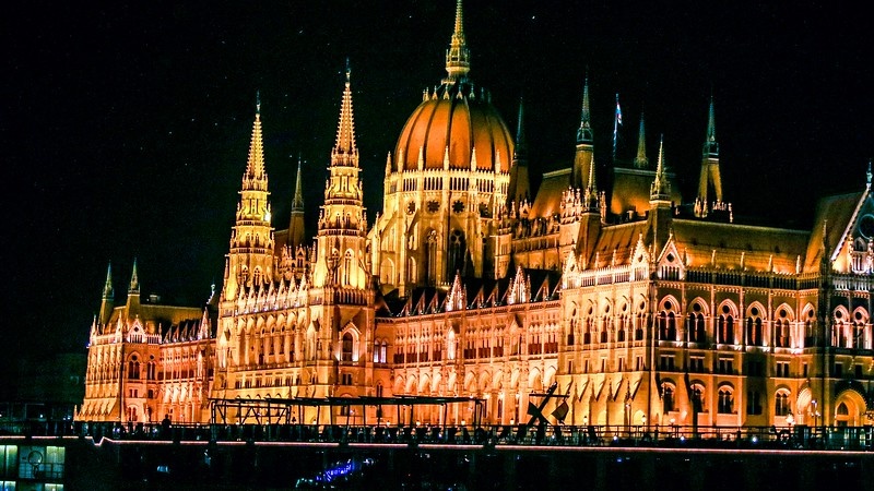The Parliament Building, Budapest. Lighting groups of different temperatures create mild color variations. Focal length 50MM, ISO 1600, 1/60 second at f4.5 handheld.