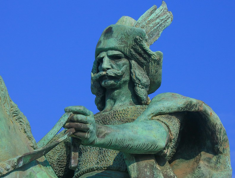 Closeup of a sculpture in Heroes Square.