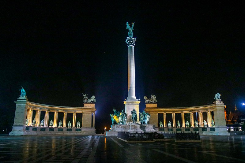 Heroes Square in Budapest, a tribute to those who have sacrificed to defend Hungary.
