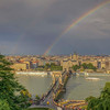 Rainbows Over Chain Bridge And St Stephens Basilica