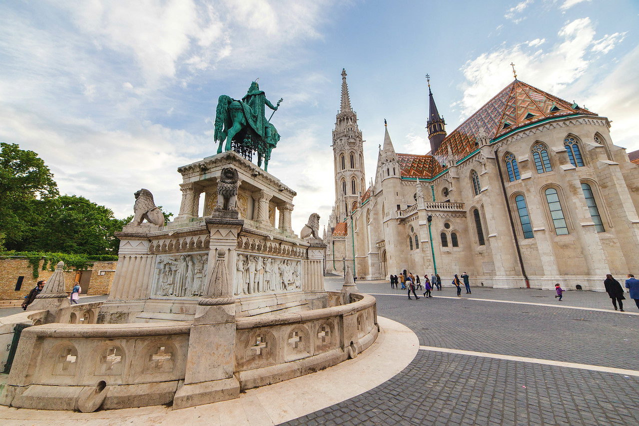 St Mathias church and statue of St Stephens in Buda Castle