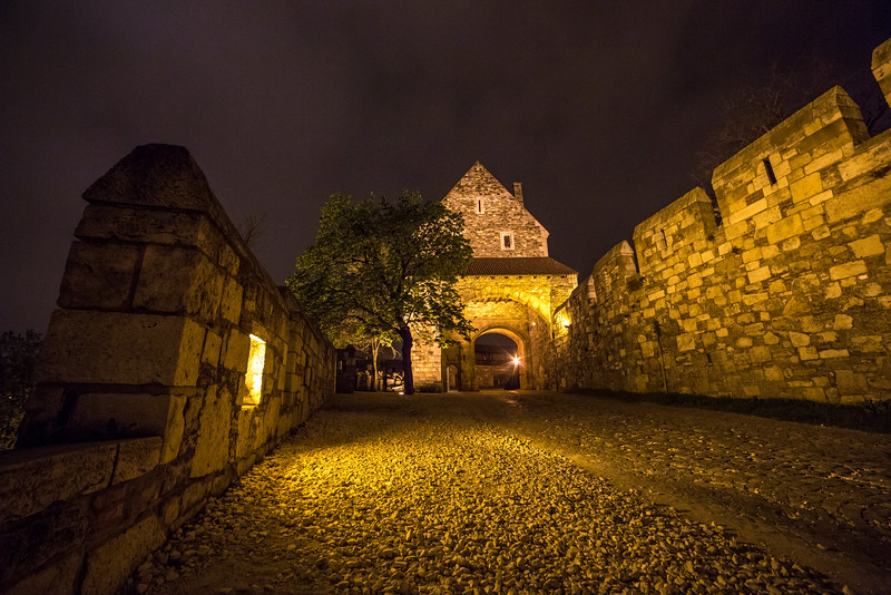 Gate at Buda Castle at night
